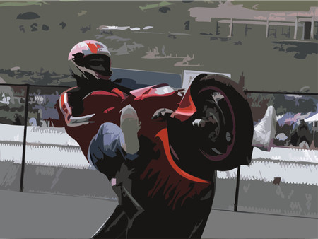 motorcycle rider: Motorcycle rider doing a wheelie