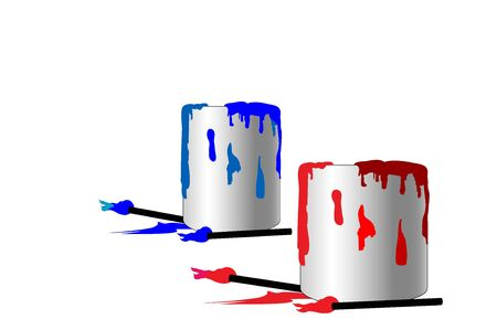 Two paint cans. One blue and one red with brushes and paint drips photo