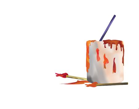 Paint can with brushes and dripping paint in 3 dementional illustration hand drawn illustration