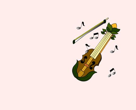Fairy violin with bow and muscical notes. Background is on a work path Reklamní fotografie