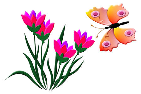 Pink Tulips with hovering butterfly illustration in slight relief style. Stok Fotoğraf