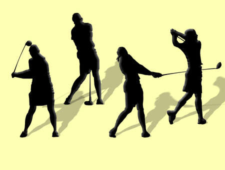 Four silhouetts of a ladies golf swing.