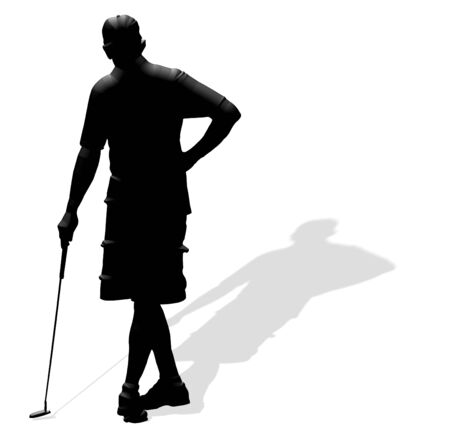 Single male golfer in silhouetted releif.Background is on a work path