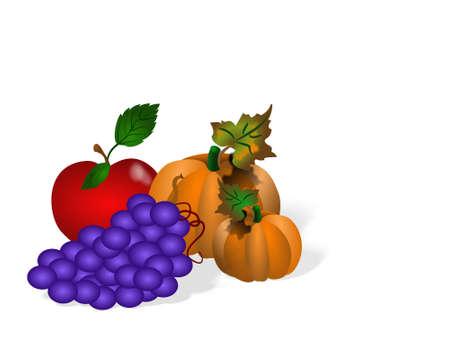과일 및 야채 절연 드로잉입니다.