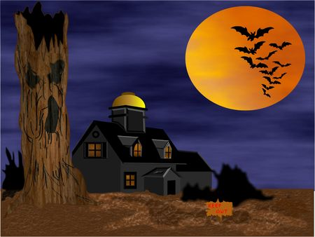 Spooky halloween haunted house with bats and moon Stock Photo