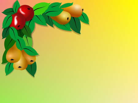 festive: Festive border for the holidays with apples and pears.