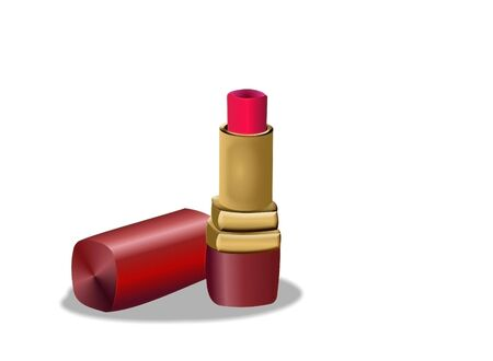 case: Simple illustration of bright lipstick and case