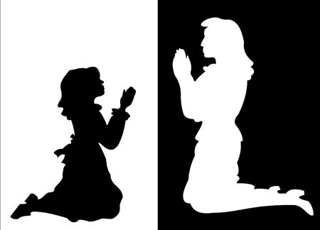 Silhouettes of a young girl and a woman in prayer