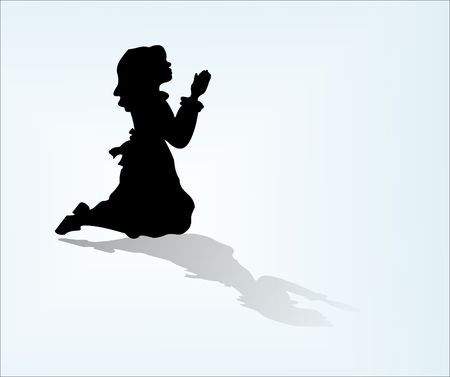 Isolated child sillouette in prayer with floor reflection