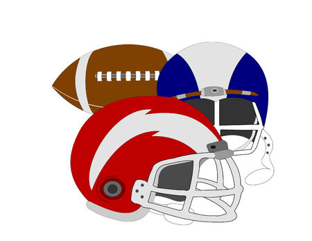 Two football helments and a football over white background
