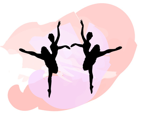 silhouettes: Two silhouettes of dancers against a splash of color