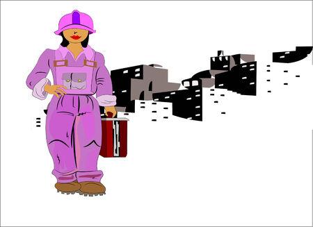 Donna di lavoro in una costruzione di sesso maschile di posti di lavoro  Archivio Fotografico - 2346961