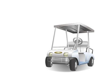 Single golf cart over a white background Reklamní fotografie