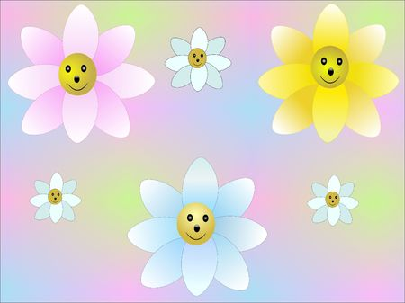 still life flowers: Bright hand-drawn flowers on multi-color background Stock Photo