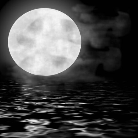 Reflectie van een volle maan weerspiegelt in het water in de nachtelijke hemel