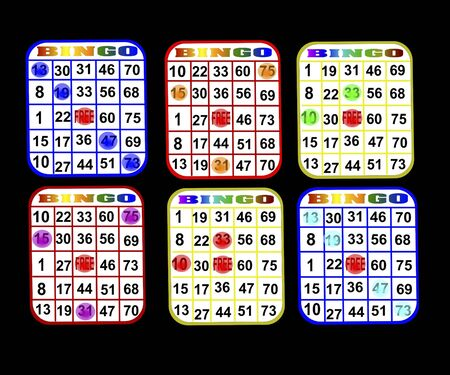Bingo cards with various colors ready to play isolated over black Фото со стока