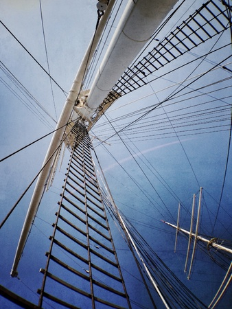 View of main mast on commercial sailing ship