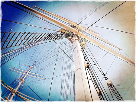 Rigging on old commercial sailing ship