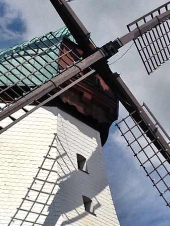 Close up of grist mill top.