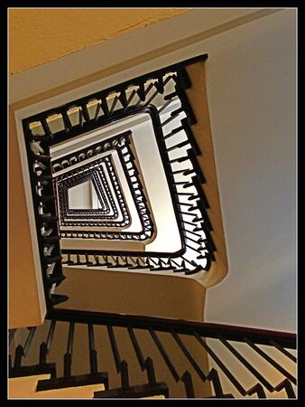 banister: Vintage wooden spiral staircase