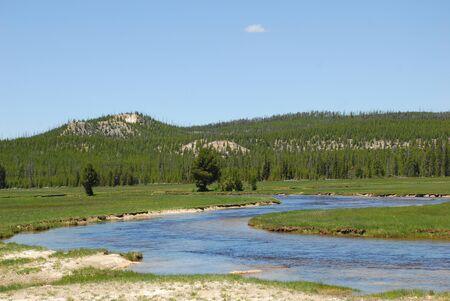 meanders: River Meanders Through Valley In Yellowstone Nationa Park