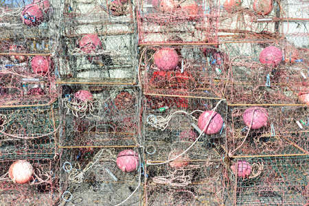 crab pot: Crab traps stacked near bay in Florida. Would make a great seafood background image. Stock Photo
