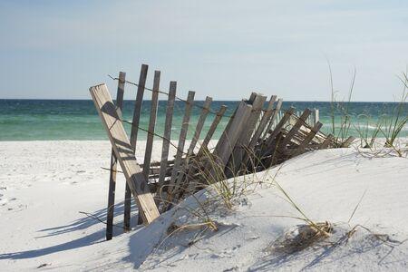 sea grass: Beach fence near Pensacola Beach, Florida.