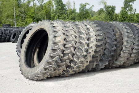 Truck and tractor tires for sale at a tire dealer. Stock Photo