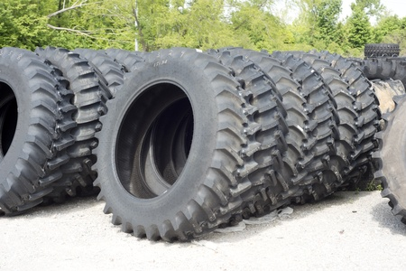tire tread: Truck and tractor tires for sale at a tire dealer. Stock Photo