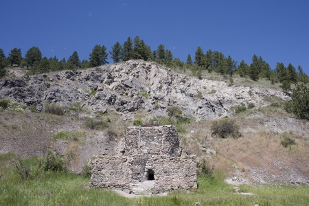 Old brick gold smelting furnace at Last Chance Gulch near Helena, Montana