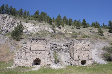 Old brick gold smelting furnaces at Last Chance Gulch near Helena, Montana