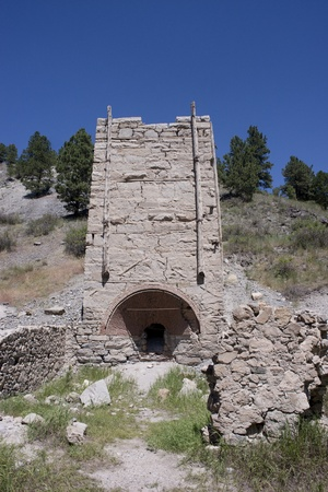 molted: Old brick gold smelting furnace at Last Chance Gulch near Helena, Montana. Stock Photo
