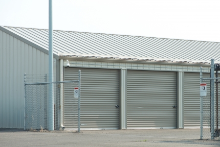 Storage unit facility with security fence. photo