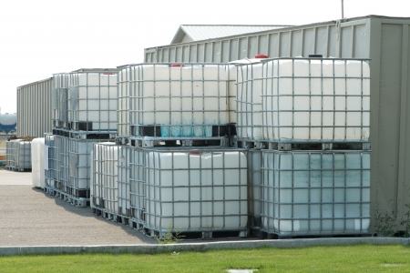 Reinforced chemical storage containers.