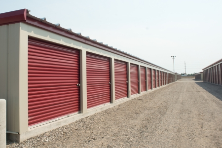 Storage units at a storage facility. Stock Photo