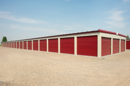 warehouse building: Storage units at a storage facility. Stock Photo