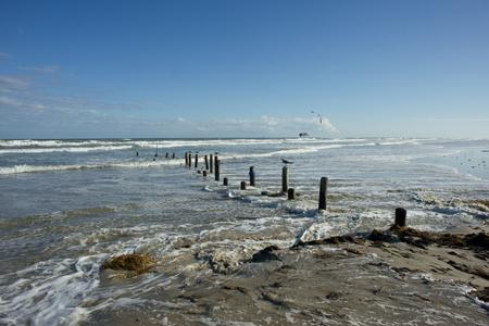 south padre: Texas Gulf coast beach near Corpus Christi after a storm. Stock Photo
