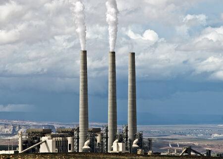 smokestacks: Industrial smokestacks contribute to smog and pollution