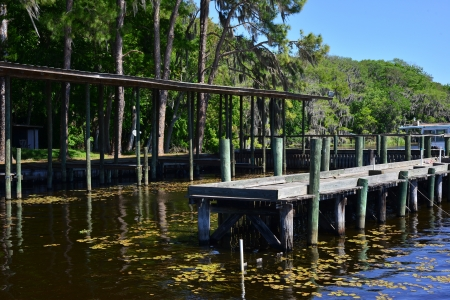 wooden dock: Old fishing dock on a river in rural Florida. Stock Photo