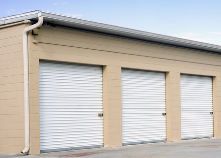 self storage: Storage units at a self storage facility  Stock Photo