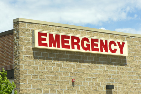Emergency department entrance at a local hospital. photo