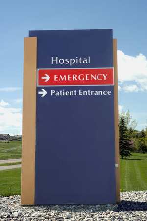 Hospital emergency entrance sign.