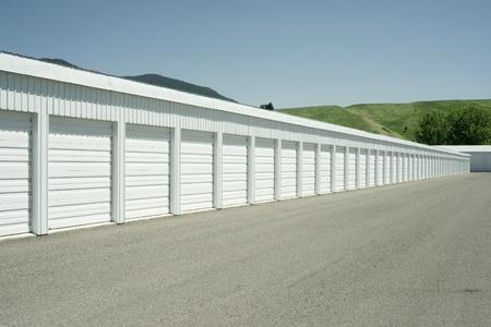 Storage units at a local storage rental company. Stok Fotoğraf