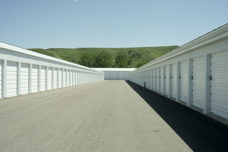 Storage units at a local storage rental company. Stock Photo