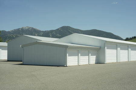 metal structure: Storage units at a local storage rental company. Stock Photo