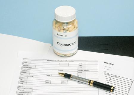 medical bills: ObamaCare prescription bottle with insurance verification form.