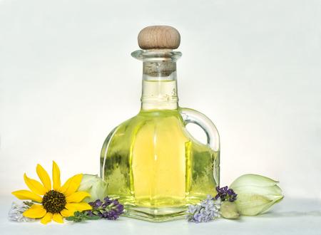 Essential oil with sunflower, alfalfa, yucca, and juniper.