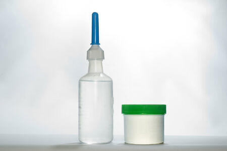 suppository: Generic phosphate enema and glycerin suppositories for the relief of constipation. Stock Photo