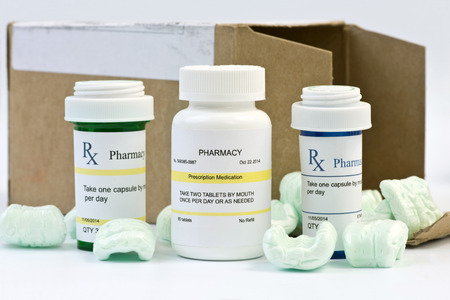 mail order: Mail order prescriptions with box and styrofoam peanuts.