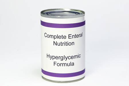 hypothetical: Hypothetical can of enteral diabetic hyperglycemic formula for g-tube feeding.